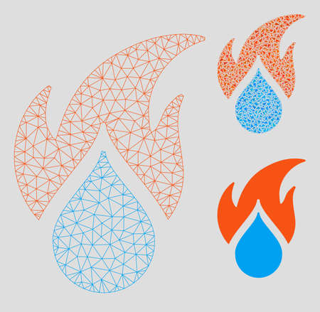Mesh fired water drop model with triangle mosaic icon. Wire carcass triangular mesh of fired water drop. Vector mosaic of triangles in various sizes, and color tones.