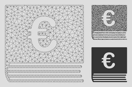 Mesh Euro sales book model with triangle mosaic icon. Wire carcass polygonal mesh of Euro sales book. Vector mosaic of triangles in variable sizes, and color tints. Abstract 2d mesh Euro sales book, Archivio Fotografico - 125028913