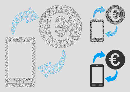 Mesh Euro mobile exchange model with triangle mosaic icon. Wire carcass polygonal mesh of Euro mobile exchange. Vector mosaic of triangle elements in variable sizes, and color tints.