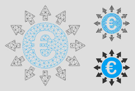 Mesh Euro payments model with triangle mosaic icon. Wire frame triangular network of Euro payments. Vector composition of triangle parts in variable sizes, and color hues.