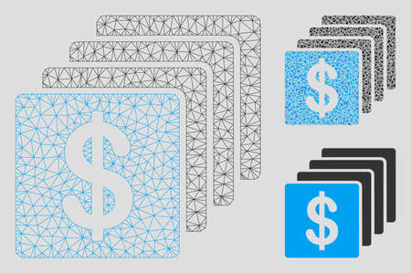 Mesh finances model with triangle mosaic icon. Wire frame triangular mesh of finances. Vector mosaic of triangle parts in different sizes, and color tones. Abstract flat mesh finances, Archivio Fotografico - 125038428