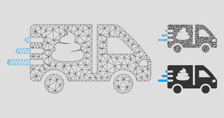 Mesh express manure delivery model with triangle mosaic icon. Wire carcass triangular network of express manure delivery. Vector mosaic of triangle parts in different sizes, and color shades. Vetores