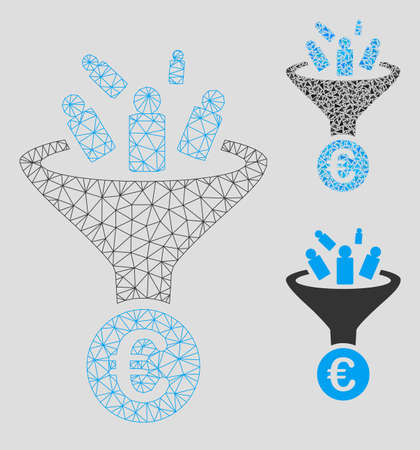 Mesh Euro sale conversion model with triangle mosaic icon. Wire frame polygonal mesh of Euro sale conversion. Vector mosaic of triangles in various sizes, and color tinges.