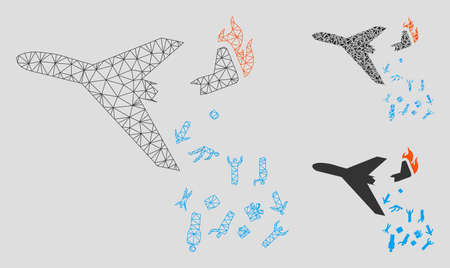 Mesh falling passengers from airplane model with triangle mosaic icon. Wire carcass triangular mesh of falling passengers from airplane. Vector collage of triangle elements in variable sizes,