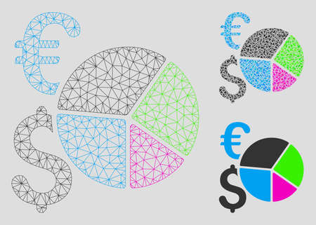 Mesh financial pie chart model with triangle mosaic icon. Wire carcass polygonal mesh of financial pie chart. Vector composition of triangle parts in different sizes, and color tinges.