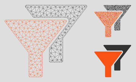 Mesh filters model with triangle mosaic icon. Wire carcass triangular mesh of filters. Vector mosaic of triangles in different sizes, and color shades. Abstract 2d mesh filters, Stock Illustratie