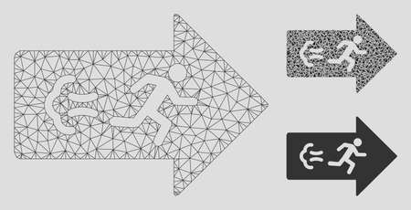 Mesh exit direction model with triangle mosaic icon. Wire frame polygonal mesh of exit direction. Vector mosaic of triangle elements in different sizes, and color hues.