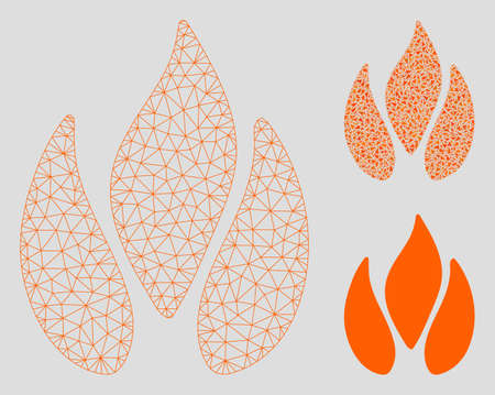 Mesh fire model with triangle mosaic icon. Wire frame polygonal network of fire. Vector collage of triangle elements in various sizes, and color tones. Abstract flat mesh fire,