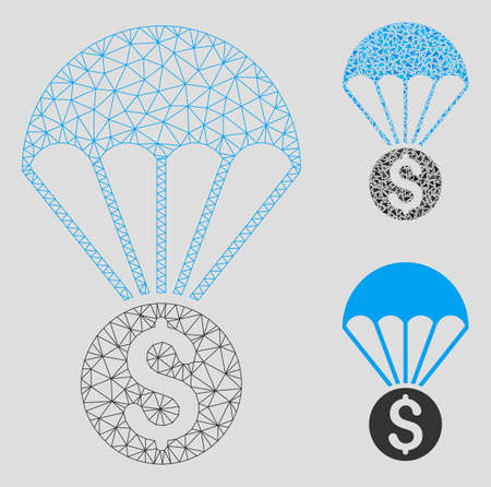 Mesh financial parachute model with triangle mosaic icon. Wire carcass polygonal mesh of financial parachute. Vector mosaic of triangles in various sizes, and color tinges.