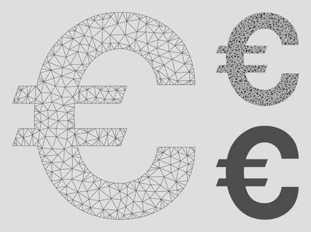 Mesh Euro symbol model with triangle mosaic icon. Wire carcass triangular mesh of Euro symbol. Vector collage of triangle parts in different sizes, and color shades. Abstract flat mesh Euro symbol,
