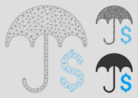 Mesh financial umbrella model with triangle mosaic icon. Wire frame triangular network of financial umbrella. Vector mosaic of triangle parts in different sizes, and color tinges.