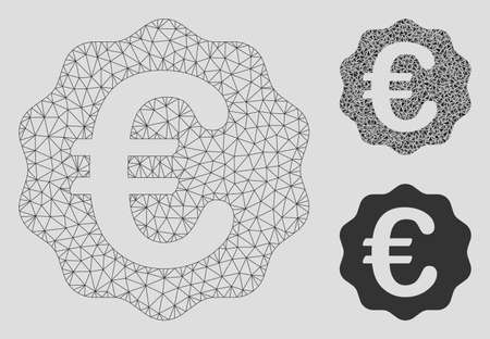 Mesh Euro reward seal model with triangle mosaic icon. Wire frame polygonal mesh of Euro reward seal. Vector mosaic of triangle elements in variable sizes, and color shades.