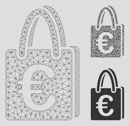 Mesh Euro shopping bag model with triangle mosaic icon. Wire frame polygonal mesh of Euro shopping bag. Vector mosaic of triangle parts in variable sizes, and color hues.