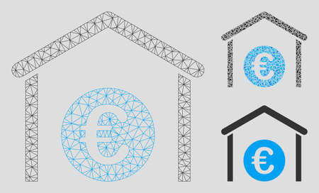Mesh Euro storage garage model with triangle mosaic icon. Wire carcass triangular mesh of Euro storage garage. Vector composition of triangle elements in different sizes, and color tints.