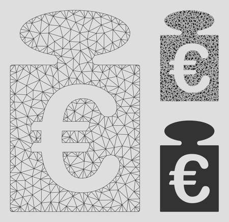 Mesh Euro weight model with triangle mosaic icon. Wire frame triangular mesh of Euro weight. Vector mosaic of triangle parts in various sizes, and color hues. Abstract 2d mesh Euro weight,