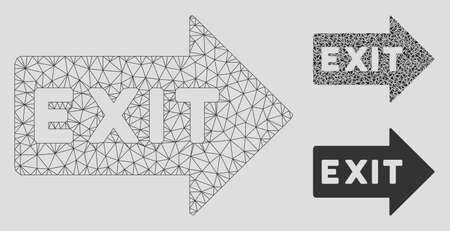 Mesh exit arrow model with triangle mosaic icon. Wire frame polygonal mesh of exit arrow. Vector mosaic of triangle parts in different sizes, and color shades. Abstract flat mesh exit arrow,