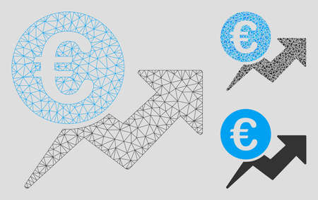 Mesh Euro sales growth model with triangle mosaic icon. Wire carcass triangular mesh of Euro sales growth. Vector mosaic of triangle elements in various sizes, and color shades.