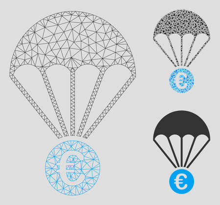 Mesh Euro parachute model with triangle mosaic icon. Wire frame triangular network of Euro parachute. Vector composition of triangle parts in variable sizes, and color shades. Illustration
