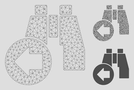 Mesh find previous binoculars model with triangle mosaic icon. Wire frame triangular mesh of find previous binoculars. Vector mosaic of triangle parts in different sizes, and color shades.