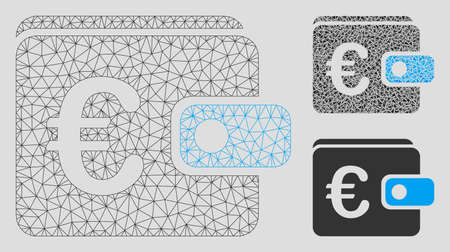 Mesh Euro wallet model with triangle mosaic icon. Wire carcass triangular mesh of Euro wallet. Vector mosaic of triangle elements in various sizes, and color hues. Abstract flat mesh Euro wallet, Archivio Fotografico - 125060565