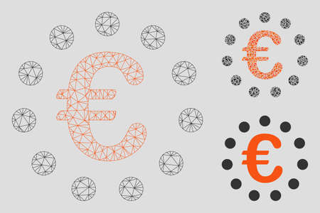 Mesh Euro union model with triangle mosaic icon. Wire frame polygonal mesh of Euro union. Vector mosaic of triangle elements in various sizes, and color shades. Abstract flat mesh Euro union,
