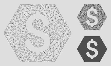 Mesh finance model with triangle mosaic icon. Wire carcass polygonal mesh of finance. Vector mosaic of triangle parts in various sizes, and color hues. Abstract 2d mesh finance,