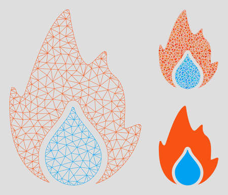 Mesh fire and water drop model with triangle mosaic icon. Wire carcass polygonal mesh of fire and water drop. Vector collage of triangle parts in variable sizes, and color tints.