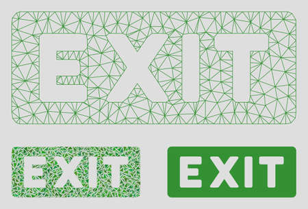 Mesh exit label model with triangle mosaic icon. Wire frame polygonal mesh of exit label. Vector mosaic of triangle parts in different sizes, and color shades. Abstract 2d mesh exit label,