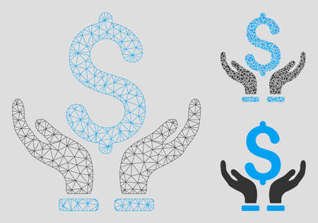 Mesh financial insurance hands model with triangle mosaic icon. Wire frame triangular mesh of financial insurance hands. Vector collage of triangle elements in various sizes, and color hues.
