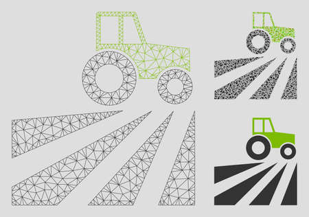 Mesh farm field with tractor model with triangle mosaic icon. Wire carcass polygonal mesh of farm field with tractor. Vector mosaic of triangle parts in various sizes, and color tones.