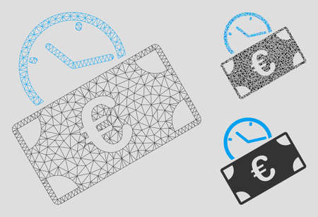 Mesh Euro recurring payment model with triangle mosaic icon. Wire frame polygonal mesh of Euro recurring payment. Vector mosaic of triangle elements in various sizes, and color shades. Çizim
