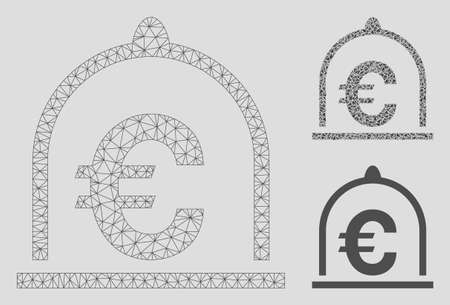 Mesh Euro standard model with triangle mosaic icon. Wire frame triangular mesh of Euro standard. Vector mosaic of triangle elements in different sizes, and color tints. Abstract 2d mesh Euro standard,