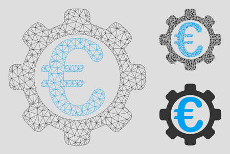 Mesh Euro payment options model with triangle mosaic icon. Wire carcass polygonal mesh of Euro payment options. Vector mosaic of triangle elements in different sizes, and color tints.