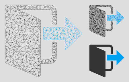 Mesh exit door model with triangle mosaic icon. Wire carcass polygonal mesh of exit door. Vector mosaic of triangle parts in variable sizes, and color tinges. Abstract flat mesh exit door,