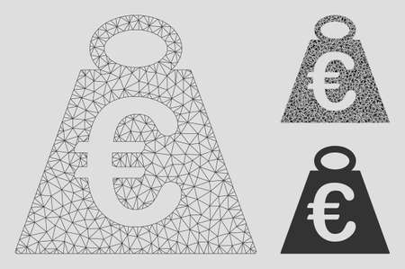 Mesh Euro weight standard model with triangle mosaic icon. Wire frame triangular mesh of Euro weight standard. Vector mosaic of triangle parts in variable sizes, and color hues.