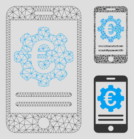 Mesh Euro mobile banking configuration model with triangle mosaic icon. Wire carcass polygonal network of Euro mobile banking configuration. Vector mosaic of triangle parts in different sizes,