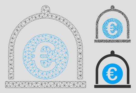 Mesh Euro standard model with triangle mosaic icon. Wire carcass polygonal network of Euro standard. Vector mosaic of triangle elements in various sizes, and color shades. Illustration