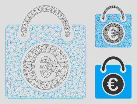Mesh Euro shopping bag model with triangle mosaic icon. Wire frame triangular mesh of Euro shopping bag. Vector mosaic of triangle parts in various sizes, and color hues.