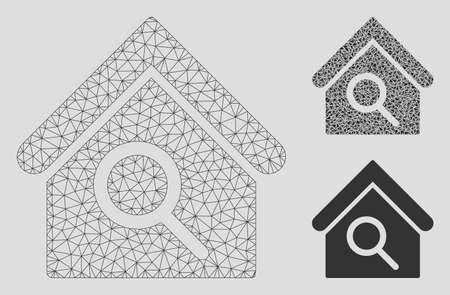 Mesh find building model with triangle mosaic icon. Wire carcass triangular mesh of find building. Vector collage of triangle elements in various sizes, and color hues. Abstract 2d mesh find building,