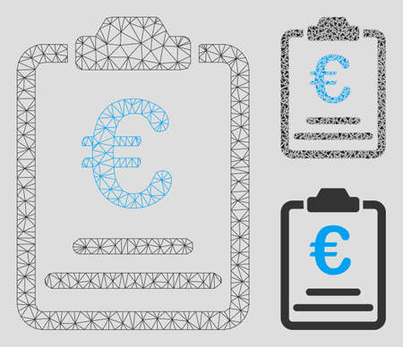 Mesh Euro prices model with triangle mosaic icon. Wire frame triangular mesh of Euro prices. Vector mosaic of triangle elements in variable sizes, and color tones. Abstract flat mesh Euro prices,