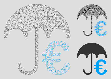 Mesh Euro umbrella model with triangle mosaic icon. Wire frame polygonal mesh of Euro umbrella. Vector collage of triangle parts in variable sizes, and color shades. Abstract 2d mesh Euro umbrella, Illustration