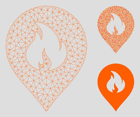 Mesh fire marker model with triangle mosaic icon. Wire frame triangular mesh of fire marker. Vector mosaic of triangle parts in variable sizes, and color shades. Abstract 2d mesh fire marker, Ilustracje wektorowe