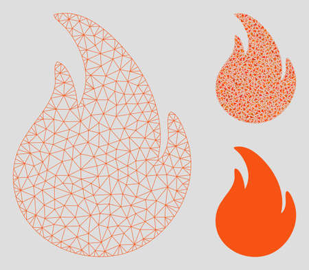 Mesh fire model with triangle mosaic icon. Wire carcass polygonal mesh of fire. Vector mosaic of triangle elements in different sizes, and color shades. Abstract 2d mesh fire,