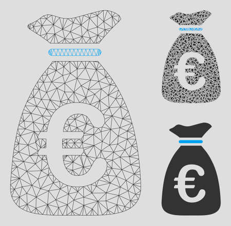Mesh Euro money bag model with triangle mosaic icon. Wire frame polygonal mesh of Euro money bag. Vector collage of triangle elements in variable sizes, and color tones. Illusztráció