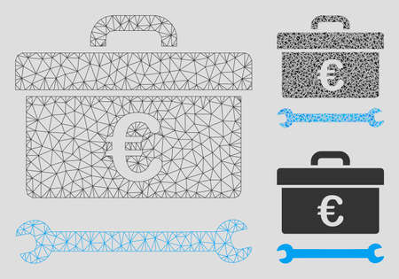 Mesh Euro toolbox model with triangle mosaic icon. Wire frame triangular network of Euro toolbox. Vector mosaic of triangle elements in variable sizes, and color shades. Illustration