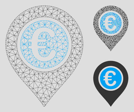 Mesh Euro pointer model with triangle mosaic icon. Wire carcass triangular mesh of Euro pointer. Vector collage of triangles in different sizes, and color tinges. Abstract flat mesh Euro pointer, Ilustrace