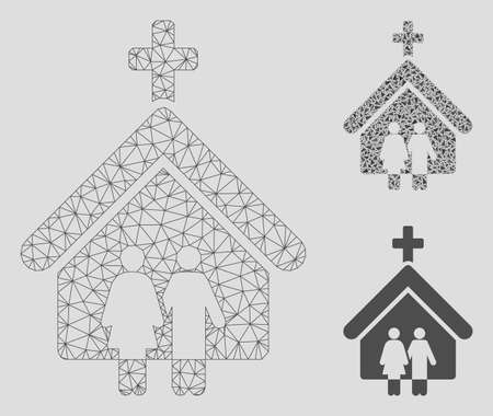 Mesh family church model with triangle mosaic icon. Wire carcass polygonal mesh of family church. Vector mosaic of triangle parts in various sizes, and color hues. Abstract 2d mesh family church, Banque d'images - 125063843