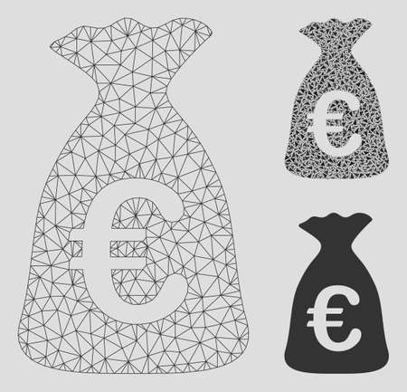 Mesh Euro money bag model with triangle mosaic icon. Wire carcass polygonal mesh of Euro money bag. Vector mosaic of triangle parts in various sizes, and color tints. Abstract 2d mesh Euro money bag,
