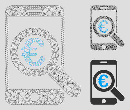 Mesh Euro mobile research model with triangle mosaic icon. Wire frame polygonal mesh of Euro mobile research. Vector collage of triangle parts in various sizes, and color tinges.