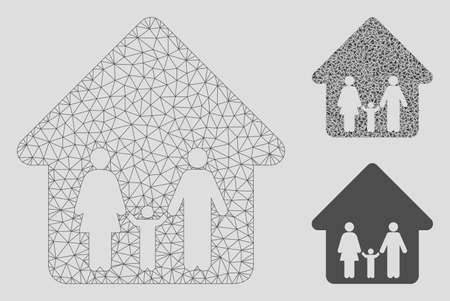 Mesh family home model with triangle mosaic icon. Wire carcass triangular mesh of family home. Vector mosaic of triangle parts in various sizes, and color tints. Abstract flat mesh family home, Illustration